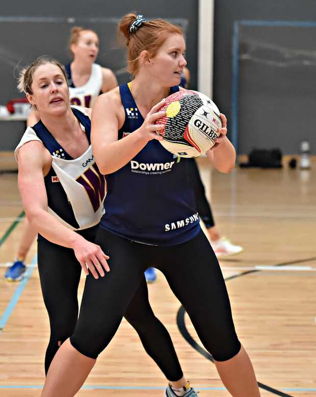 Image for sale: Sunshine Coast Lightning netball team training at Caloundra.Stephanie Wood looks for options.
