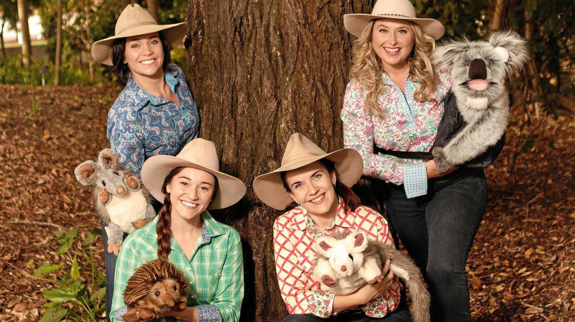 OUTBACK TEACHINGS:Joanna Heath, Georgia Spark, Cassie George and CIlla Pershouse from Blue Gum Farm TV.