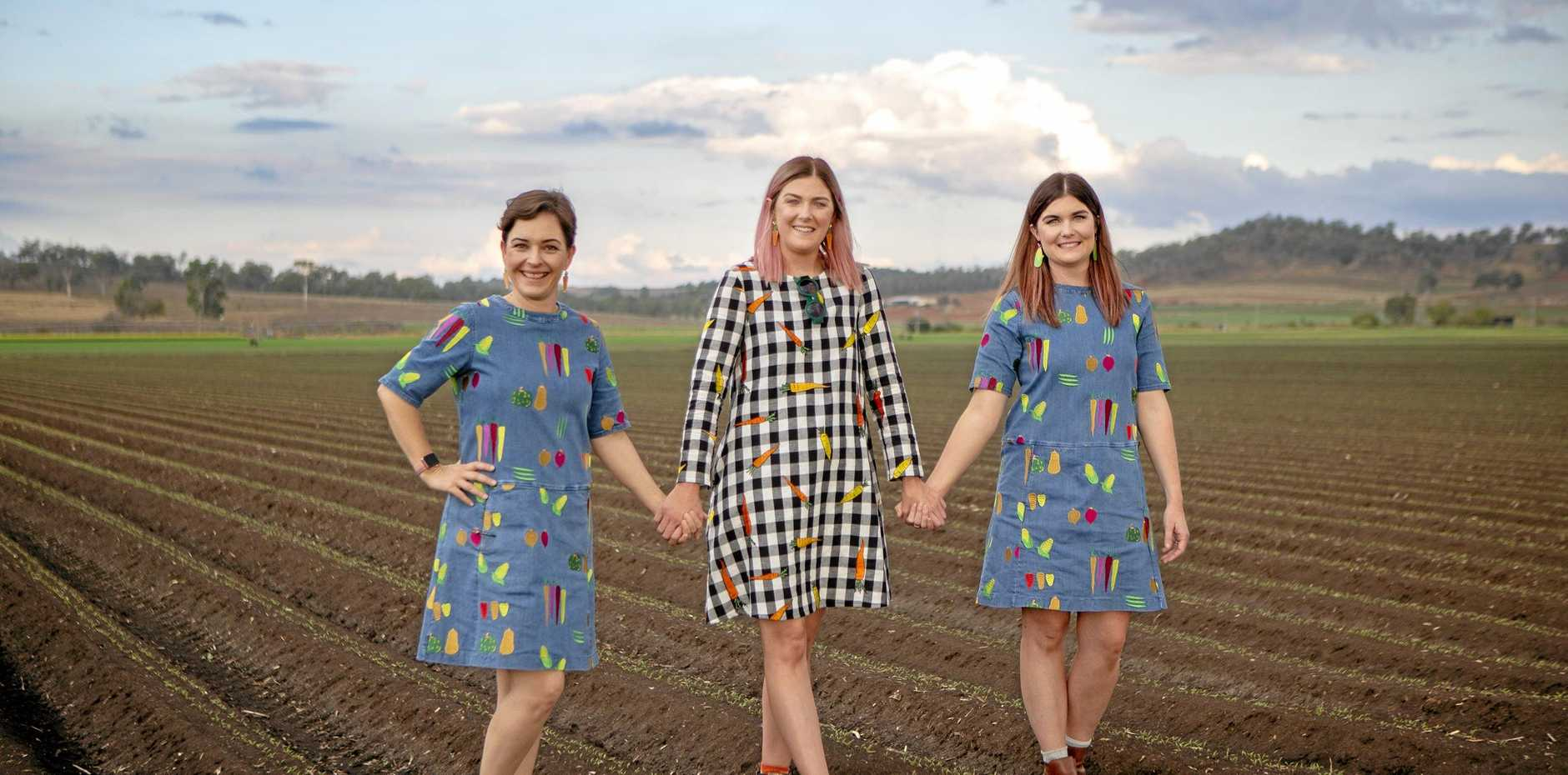 Event coordinator Genevieve Windley is pictured with Chloe Rowe and Kate Russell of Brisbane-based fashion label Jericho Road Clothing.