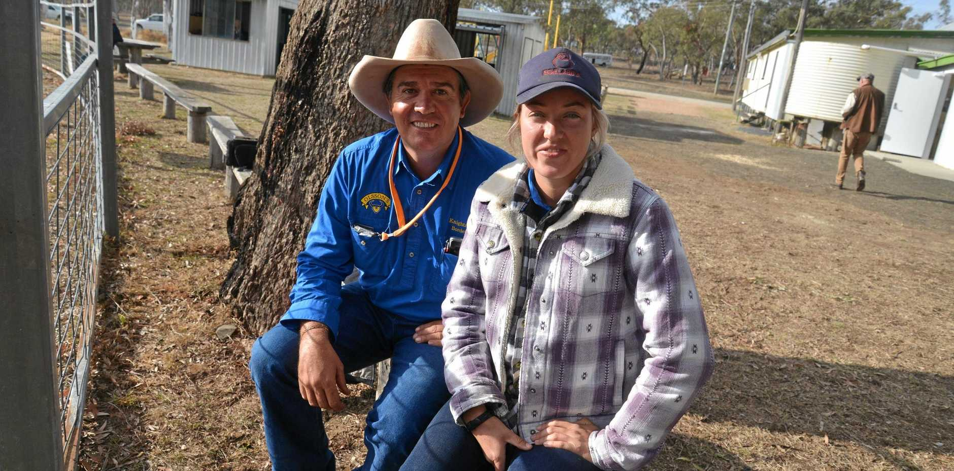 OUT AND ABOUT: Barry Knight (Toowoomba) and Pip Flower (Winton) at Karara.