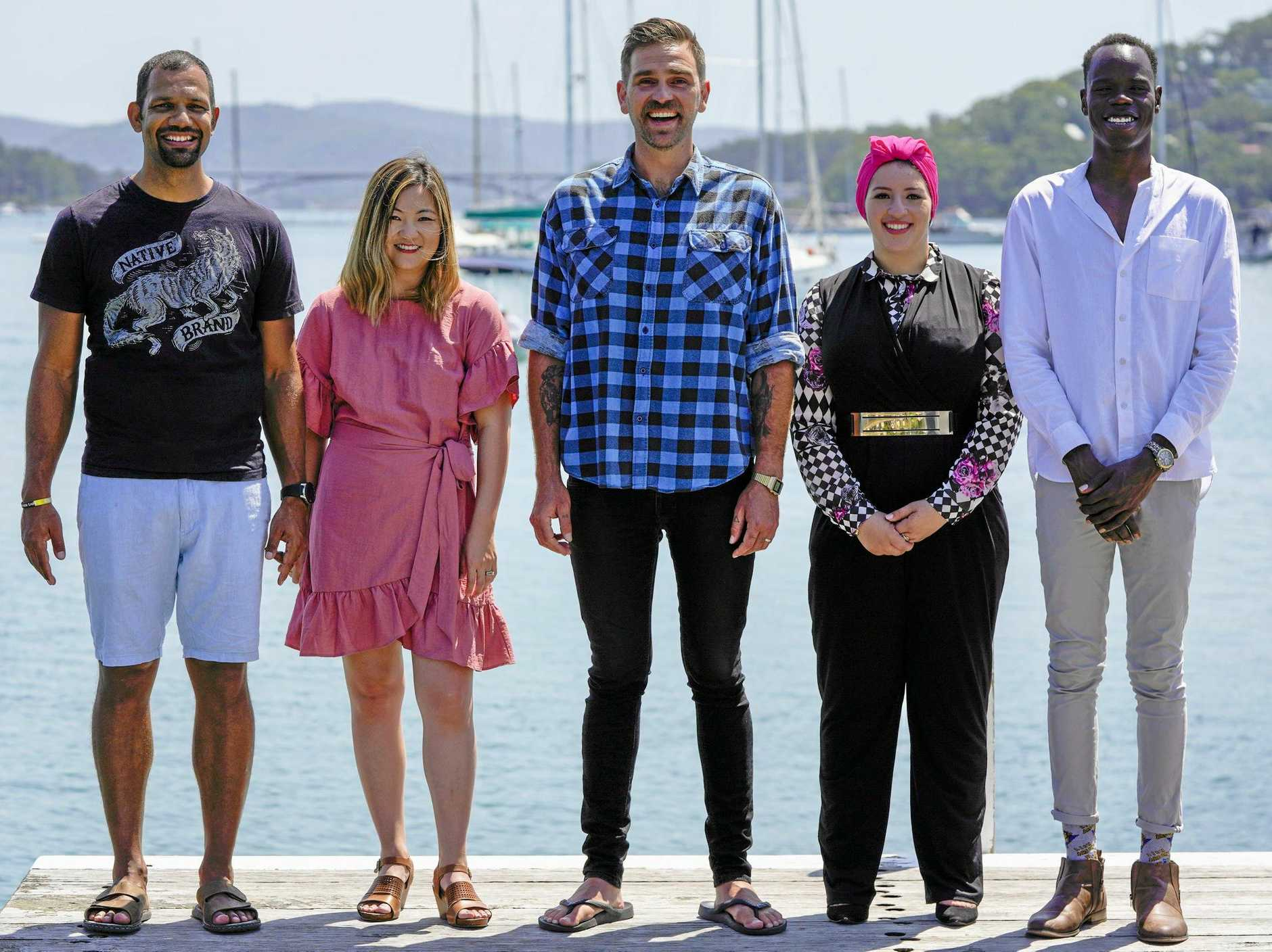 From left, Aaron, Jemma, Sara and Yong join host Harley Breen, centre, in the racism episode of Taboo. Taboo airs Thursday (June 20) at 8.40pm on Ten/WIN.