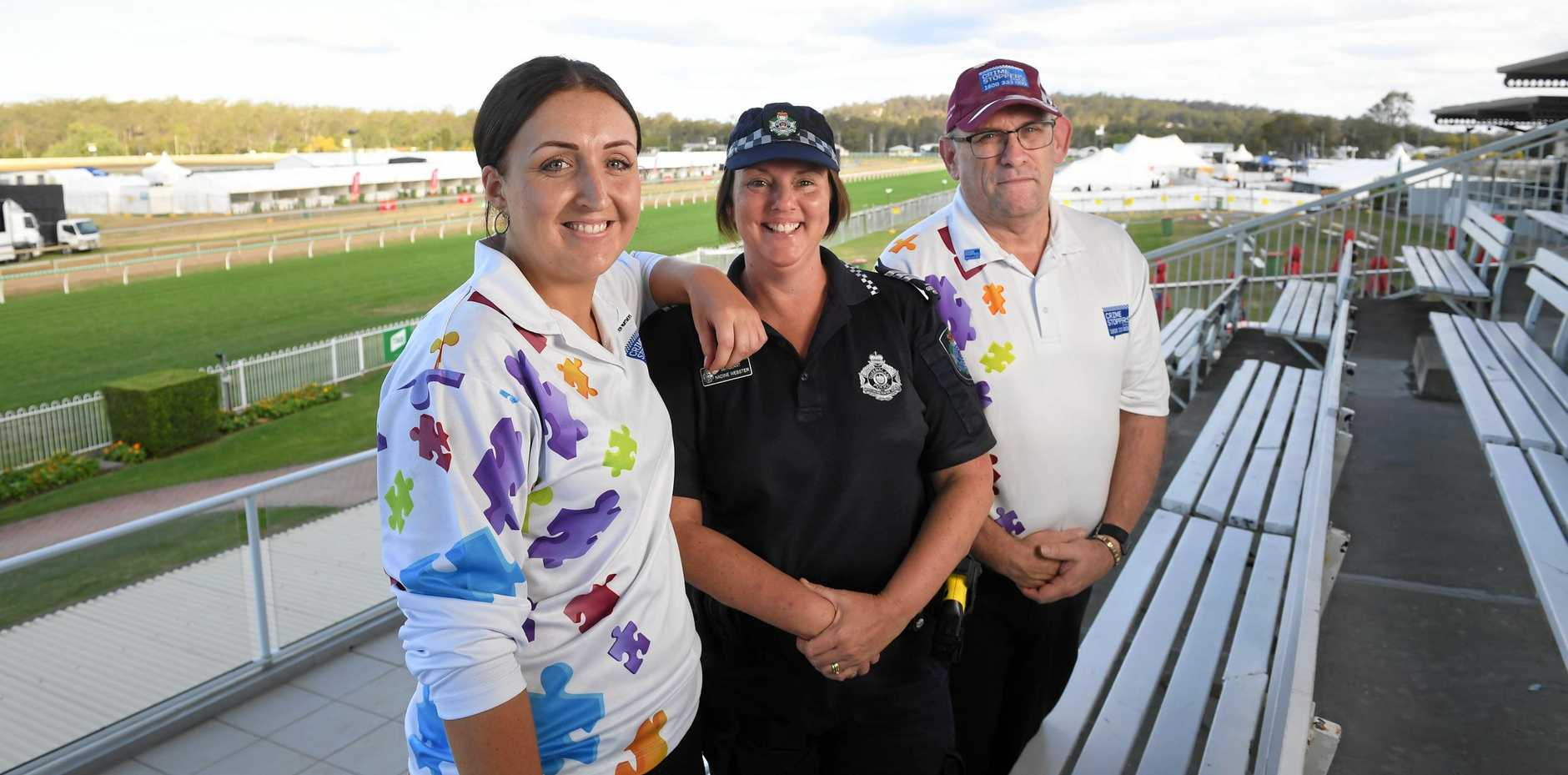 RACE DAY: Ipswich Crimestoppers Volunteer Committee secretary Teigan Hogbin, Sergeant Nadine Webster, and Ipswich Crimestoppers Volunteer Committee chairperson Scott Mawhinney promote the upcoming Crimestoppers Race Day.