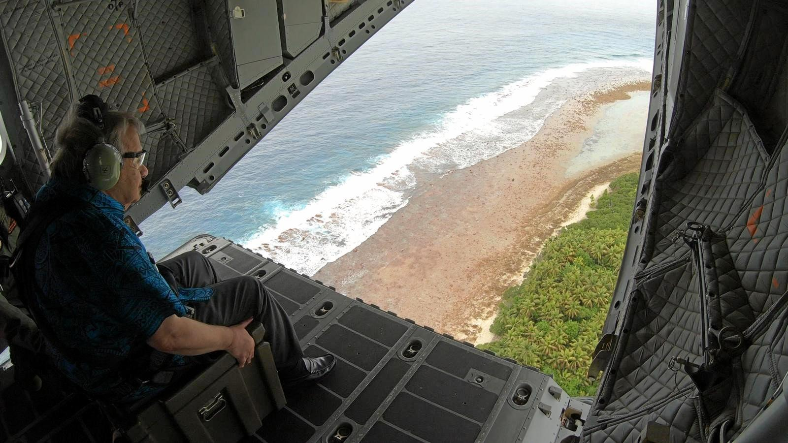 United Nations Secretary General, Antnio Guterres, viewing islands of the South West Pacific nation of Tuvalu from the ramp of a No. 35 Squadron C-27J Spartan.