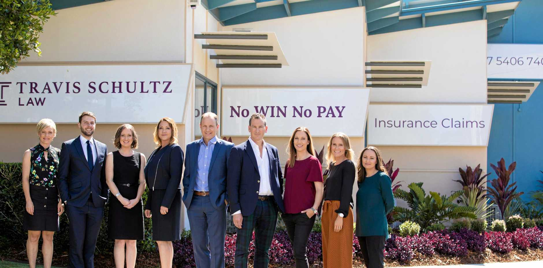 TEAM WORK: The team at Travis Schultz Law celebrated one year in business in May and has grown from five to 18 people in the first year of operation. Some of the members of the Travis Schultz Law team, from is Kylie Schweikert, Hayden Wright, Elle Rosenlund, Lisa Schultz, Michael Callow, Travis Schultz, Kelly Phelps, Inga Lind and Amy Smith.