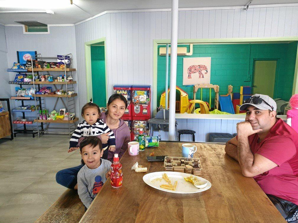 FAMILY TIME: Hana, Rio, Aleina and Yasin Uraze at Bundy West Takeaway.