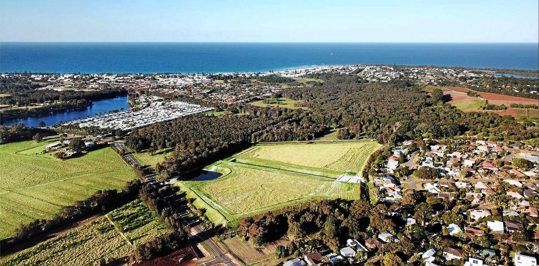 The new Kingscoast Estate with the Tweed Valley Hospital site in the top right corner.