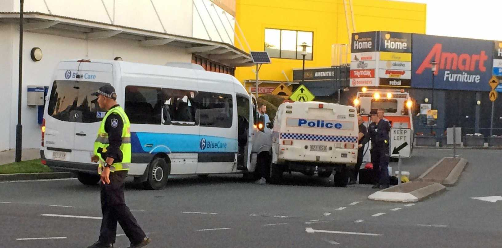 Two people in a stolen Blue Care bus have led police on a high-speed chase across Maroochydore before crashing into a police car this afternoon.