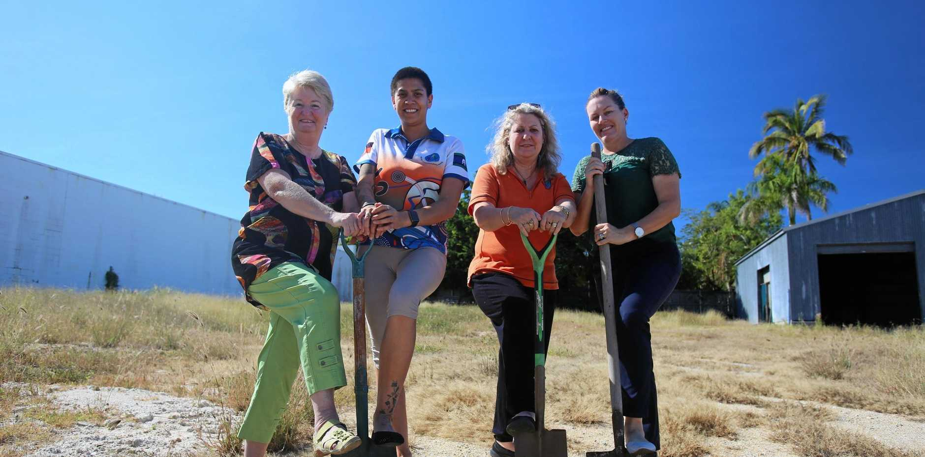 Bowen Neighbourhood chairperson Chris Coventry, Crystal Maaka, Bowen Neighbourhood Centre co-ordinator Deanna Tinirau and Natasha Leaver are ready to get shovel down on the site of the new centre.