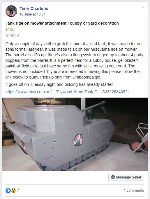 The Facebook post advertising the ride-on mower, plywood tank for sale.