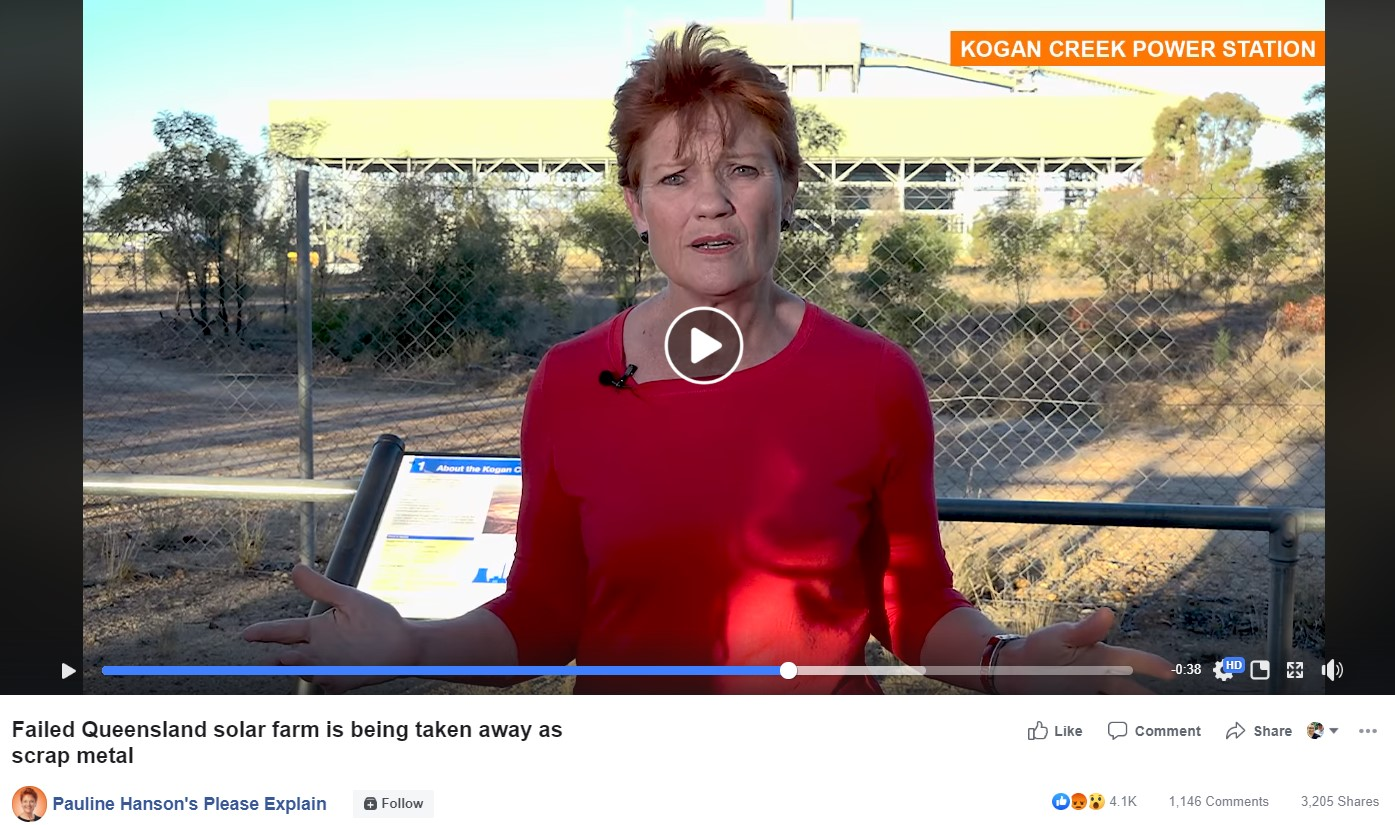 PLEASE EXPLAIN: One Nation party leader Senator Hanson has criticised the State and Federal Governments via her social media regarding the hundred million dollar plus expenditure on the failed Kogan Creek Power Station solar boost project.
