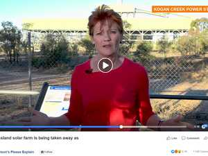 Pauline Hanson slams government over failed 'solar' project