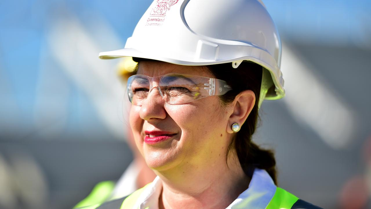 Premier Annastacia Palaszczuk inspects progress on the North Queensland Stadium in Townsville yesterday. Picture: Alix Sweeney