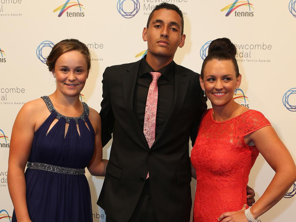 "Ash Barty, Nick Kyrgios and Casey Dellacqua. Kyrgios said he ""always knew"" Barty was ""going to be a champion""."