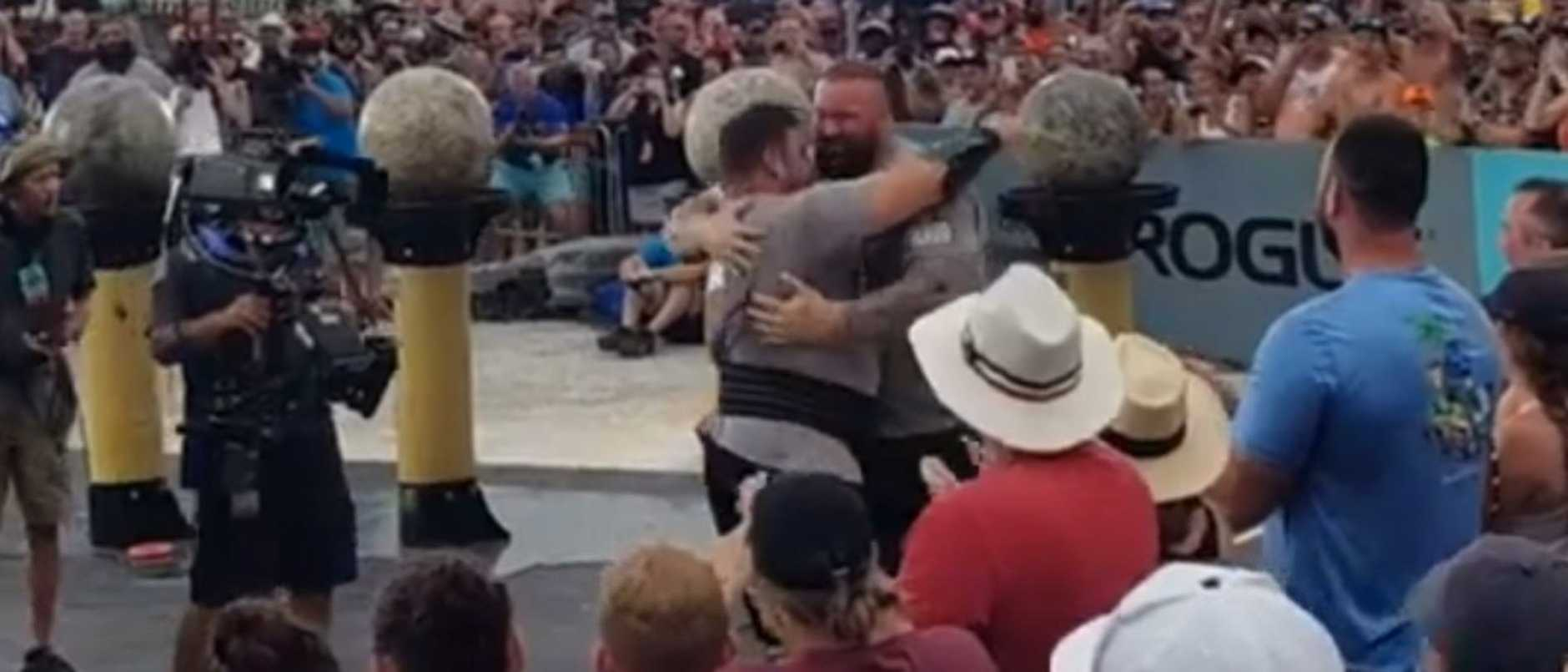 Pure class moment The Mountain congratulates The Dragon on World's Strongest Man victory.