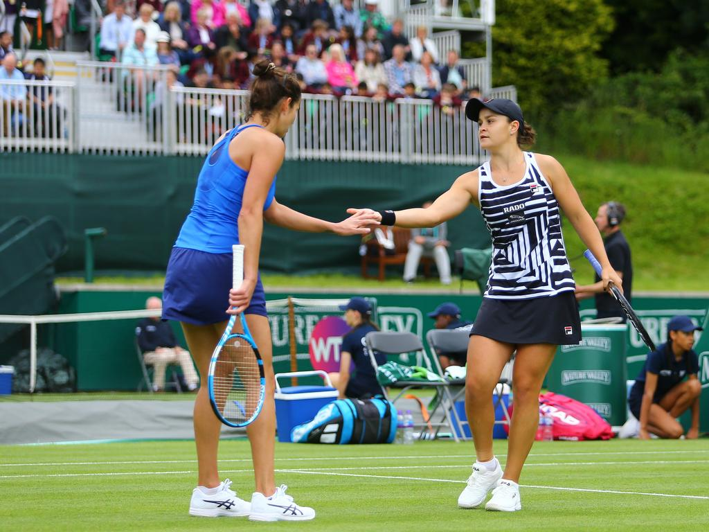 Ash Barty defeated Julia Goerges of Germany in two sets.