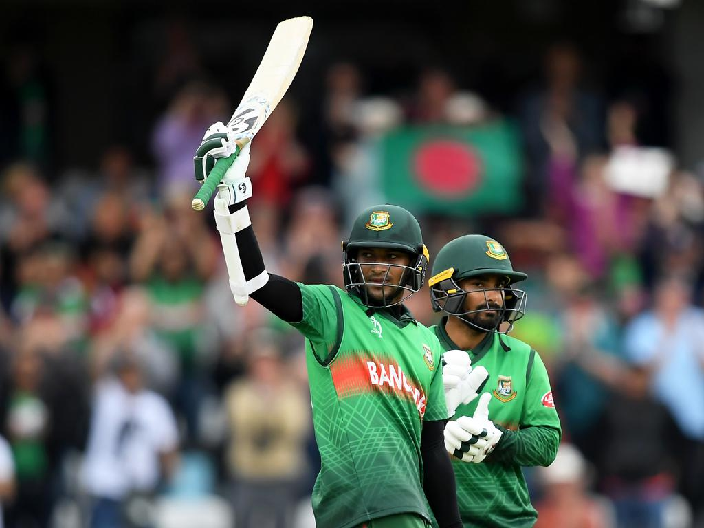 Shakib Al Hasan of Bangladesh celebrates his century. Picture: Alex Davidson/Getty Images