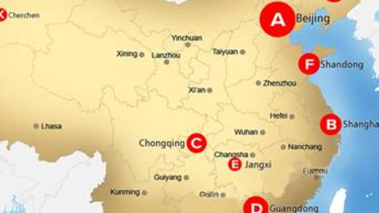 This map identifies known prison camps across China.