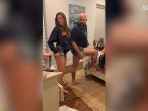 Dad pranks daughter with short shorts