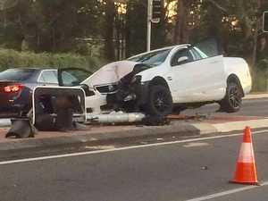 Man injured, traffic blocked after crash on major road