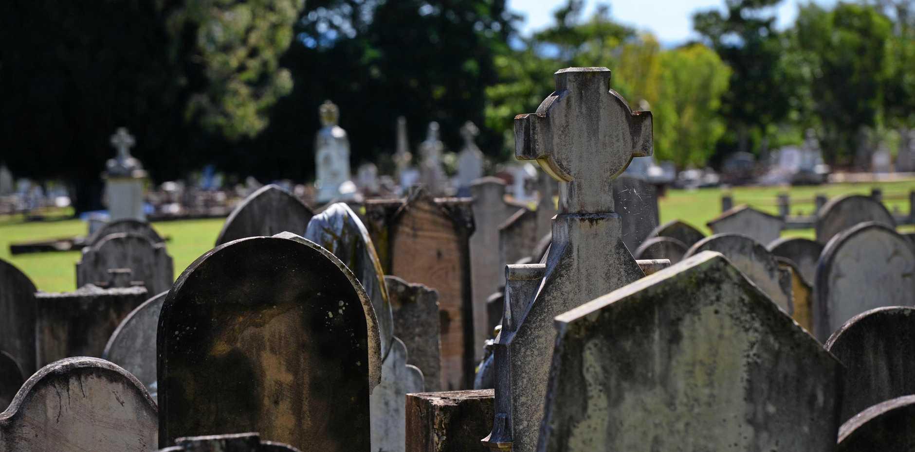 Gravestones at Ipswich Cemetery.