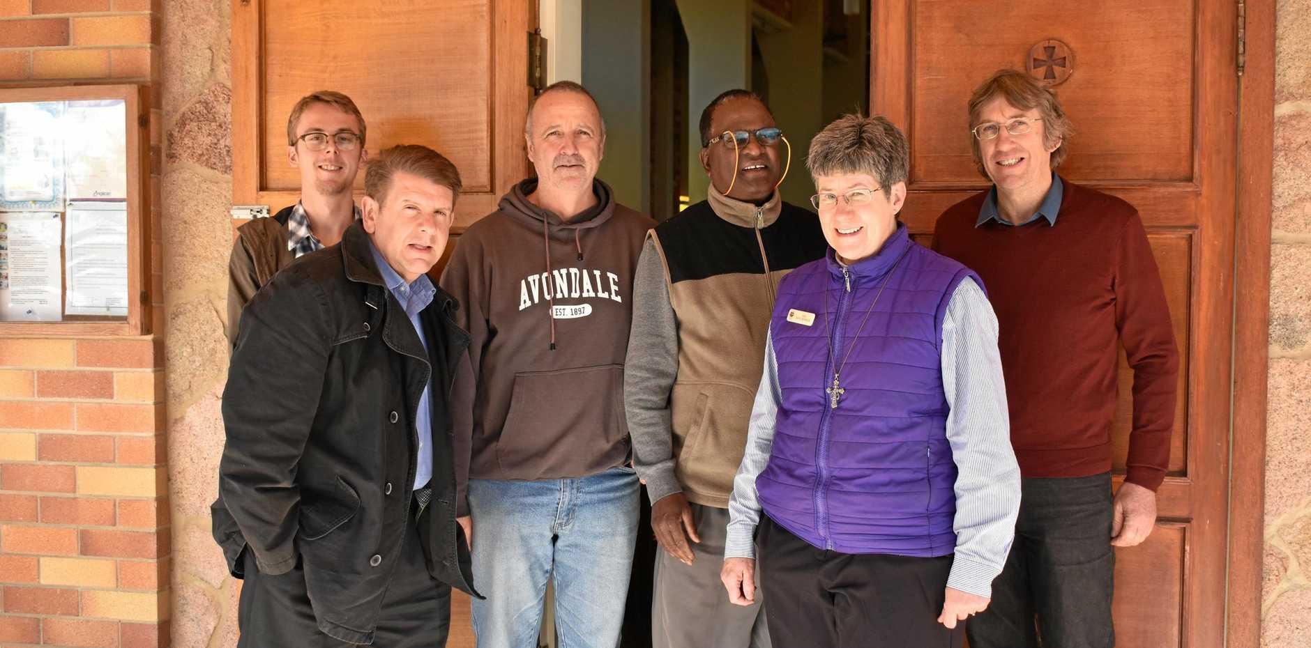 Student pastor, Harley Southwell, Pastor Mark Harvey, Trevor Mawer, Reverend Daniel Sitaran, Reverend Kaye Ronalds and Bruce Jones.