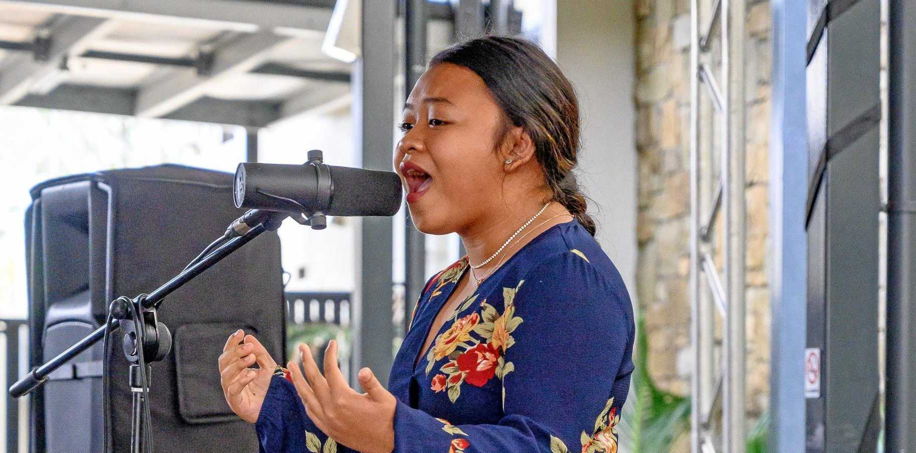 POWERHOUSE: Young Whitsunday's Got Talent heat two winner Nicole Copo performs at Reef Gateway Hotel.