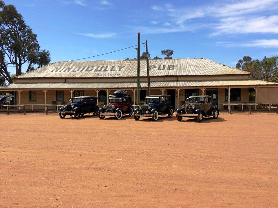 BOOMING: The Nindigully Pub indulged in a touch of nostalgia when the Brisbane A Model Ford Club stopped in for a drink and a meals earlier this year.