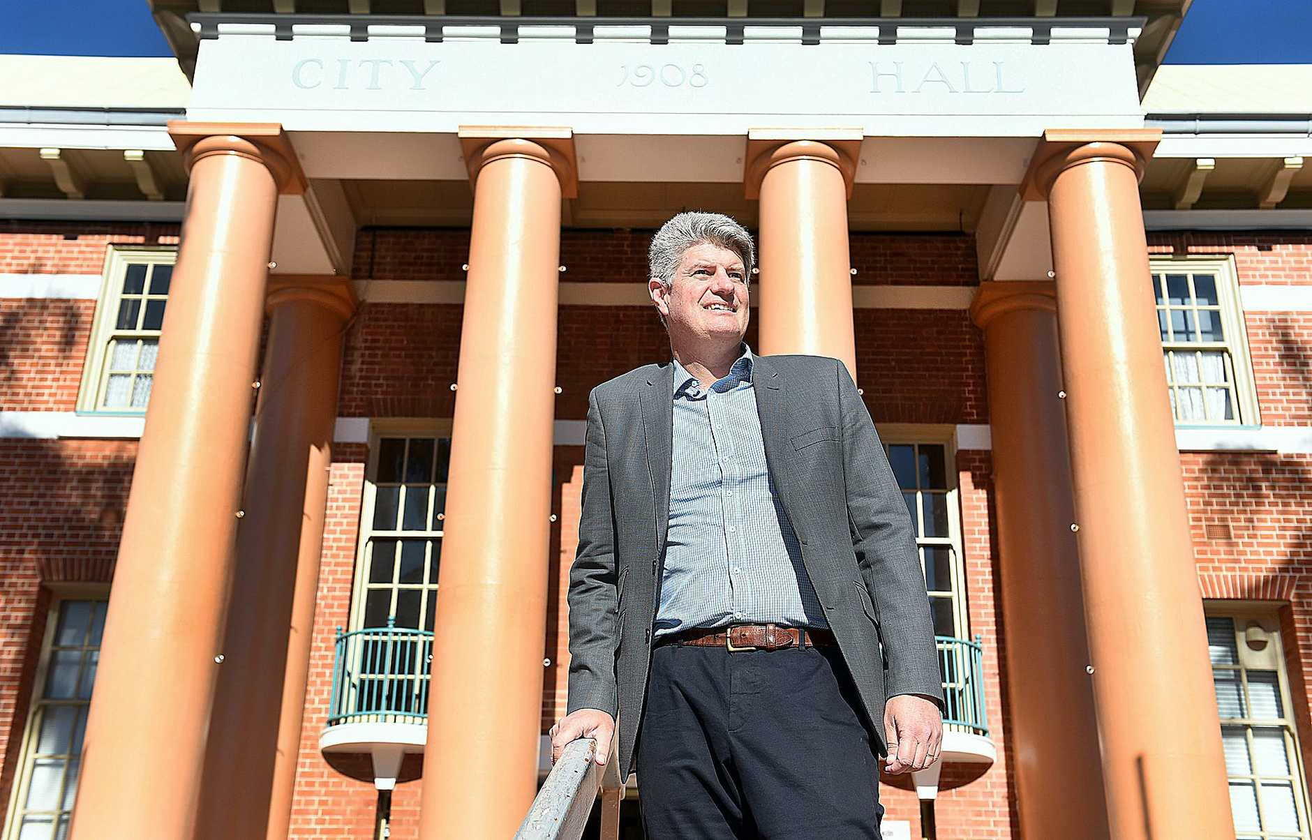 Minister for Local Government Stirling Hinchliffe outside Maryborough City Hall.