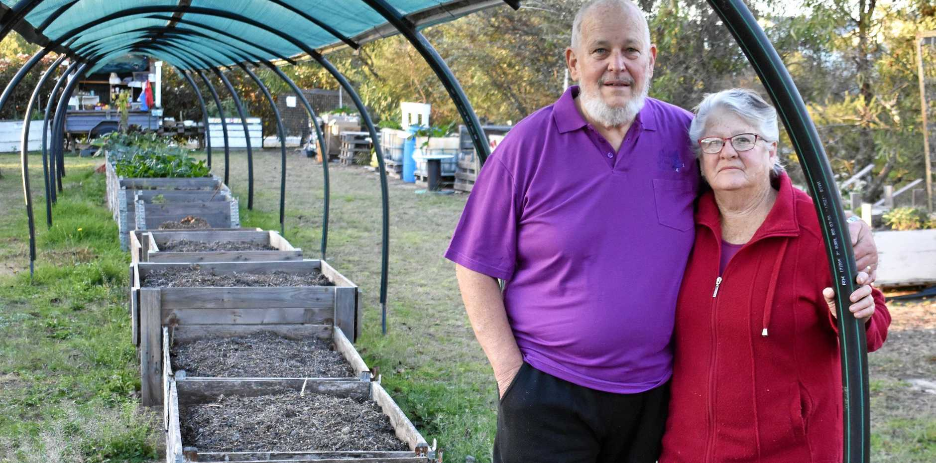 EMPTY BOXES: Ian and Chris Robbins have no water to grow vegetables.