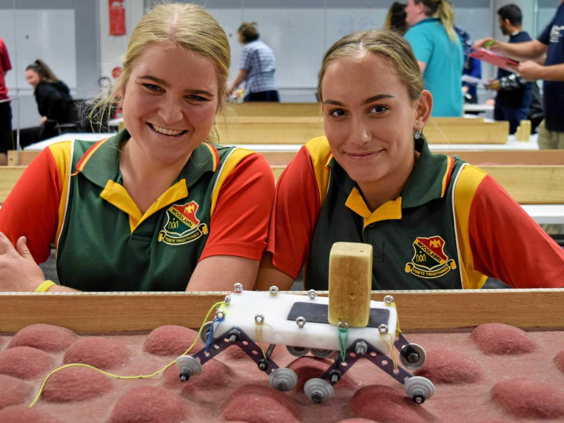 St John's College Woodlawn students Georgia Perkins and Zali Hill participating in the Return to Mars challenge at the 2018 Northern River Science and Engineering Challenge at Southern Cross University.