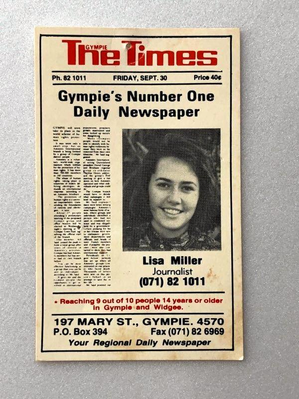 Lisa Millar's first business card was a doozy.