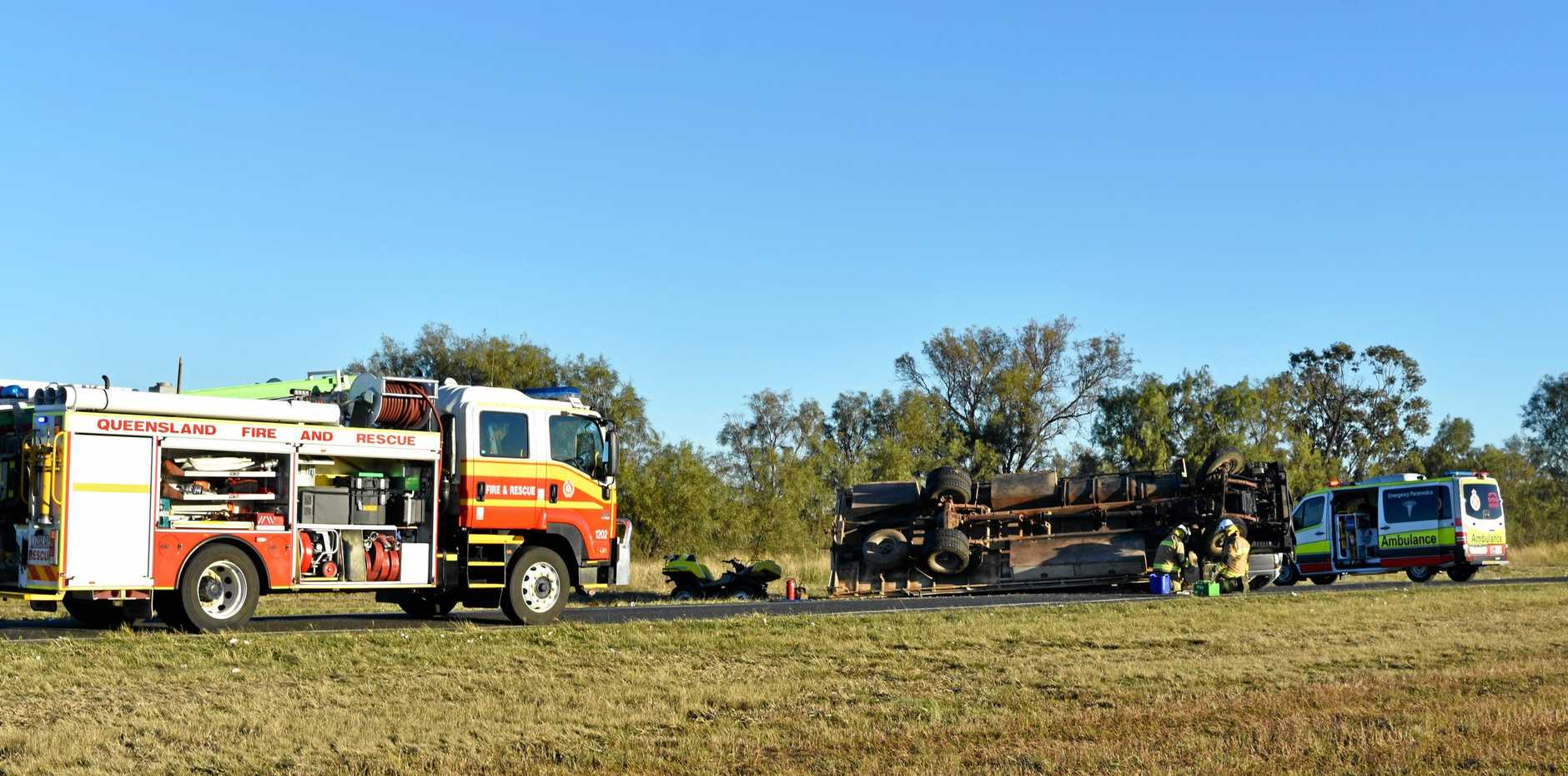 ROLLOVER: Firies, police and paramedics responded to the incident but no injuries were recorded.