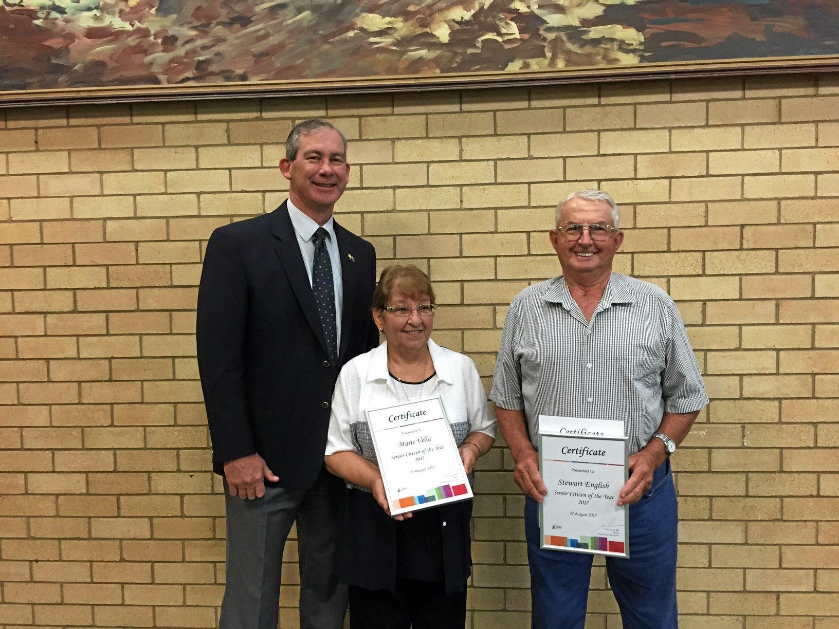 Mayor Mick Curran with Senior Citizen award winners Maria Vella and Stewart English.