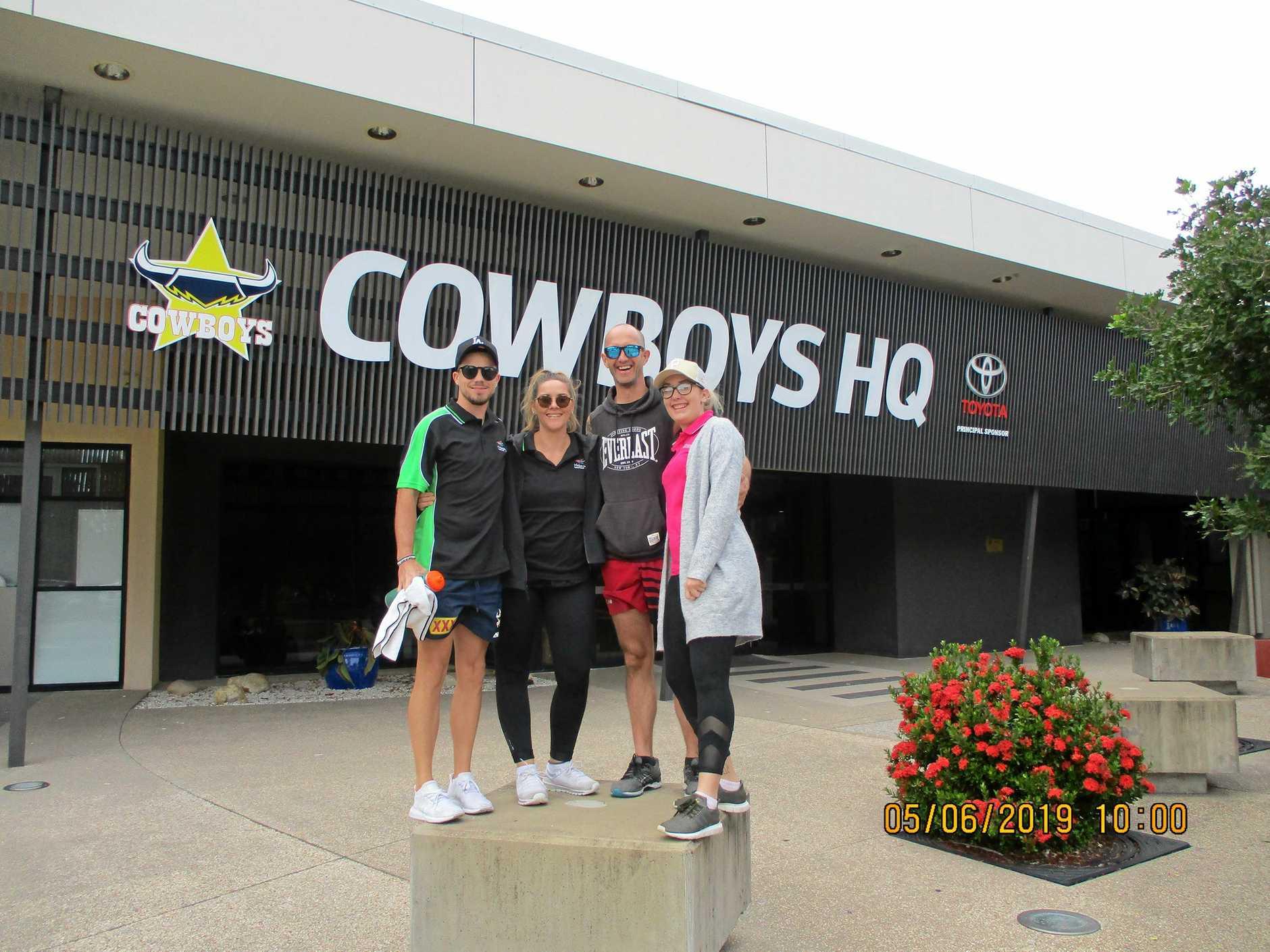 ELITE: Kiel Crocker, Bec Altmann, Rhys Davies and Brooke Newell had the opportunity to train like a North Queensland Cowboys player.