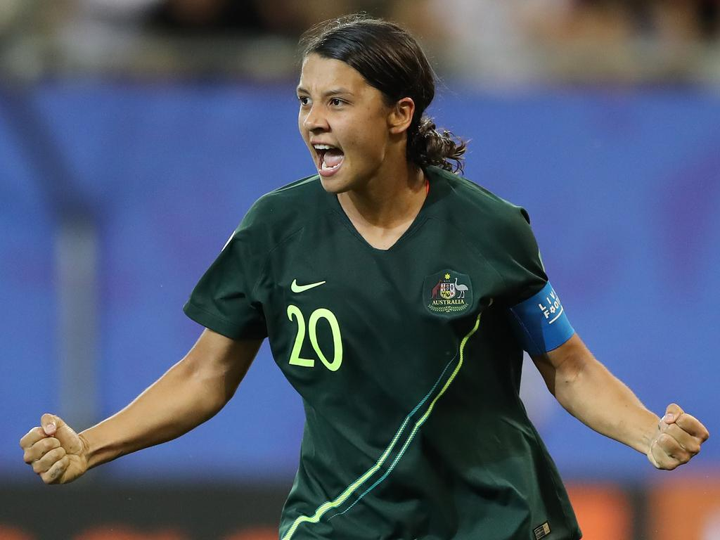 Matildas captain Sam Kerr celebrates scoring her fourth goal against Jamaica. Picture: Getty Images