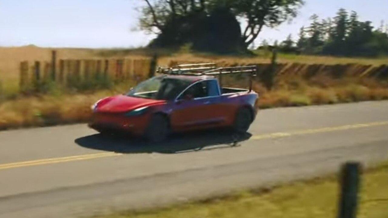 Simone Giertz has turned her Tesla Model 3 into a ute. Photo: YouTube.
