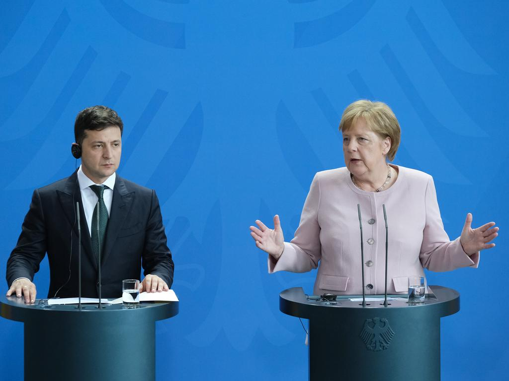 "By the time the two did a joint press conference, Angela Merkel said she was ""doing very well"". Picture: Getty Images"