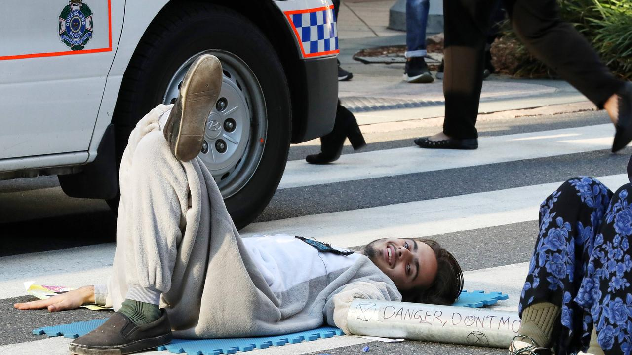 A Brisbane court heard it took three hours to unglue Eric Serge Herbert from the road in Post Office Square. Picture: Liam Kidston.