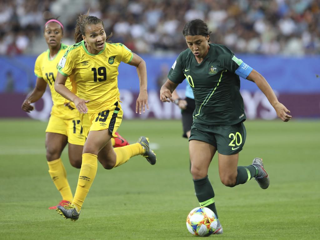 Sam Kerr was on target early. (AP Photo/Laurent Cipriani)