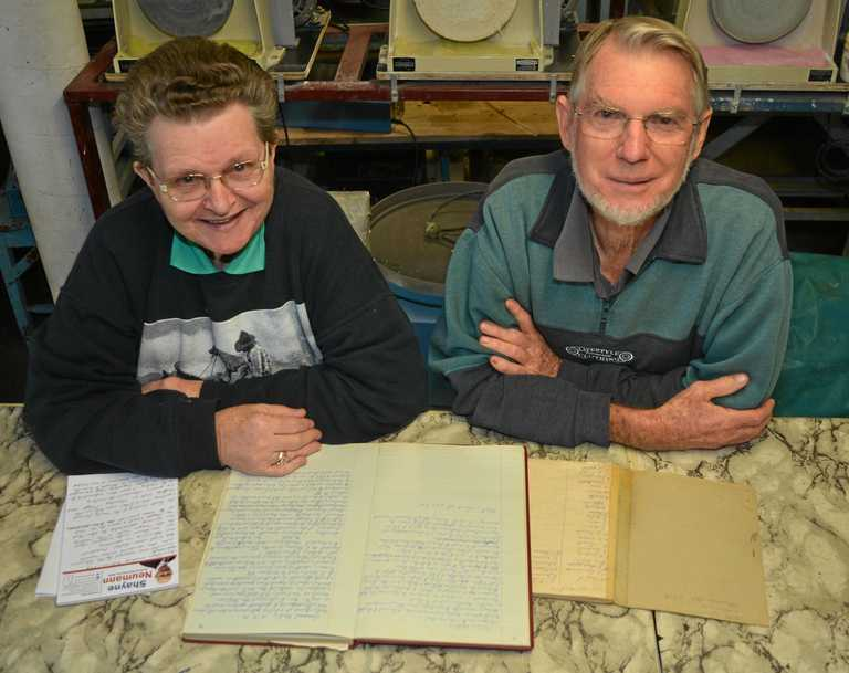 Cindy Thwaites and Leon Steinhardt are mining for information about the Gatton Lapidary Club's history.