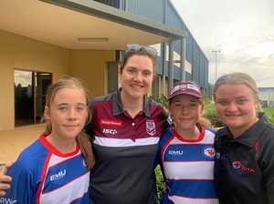 Girls rub shoulders with best rugby league players in game