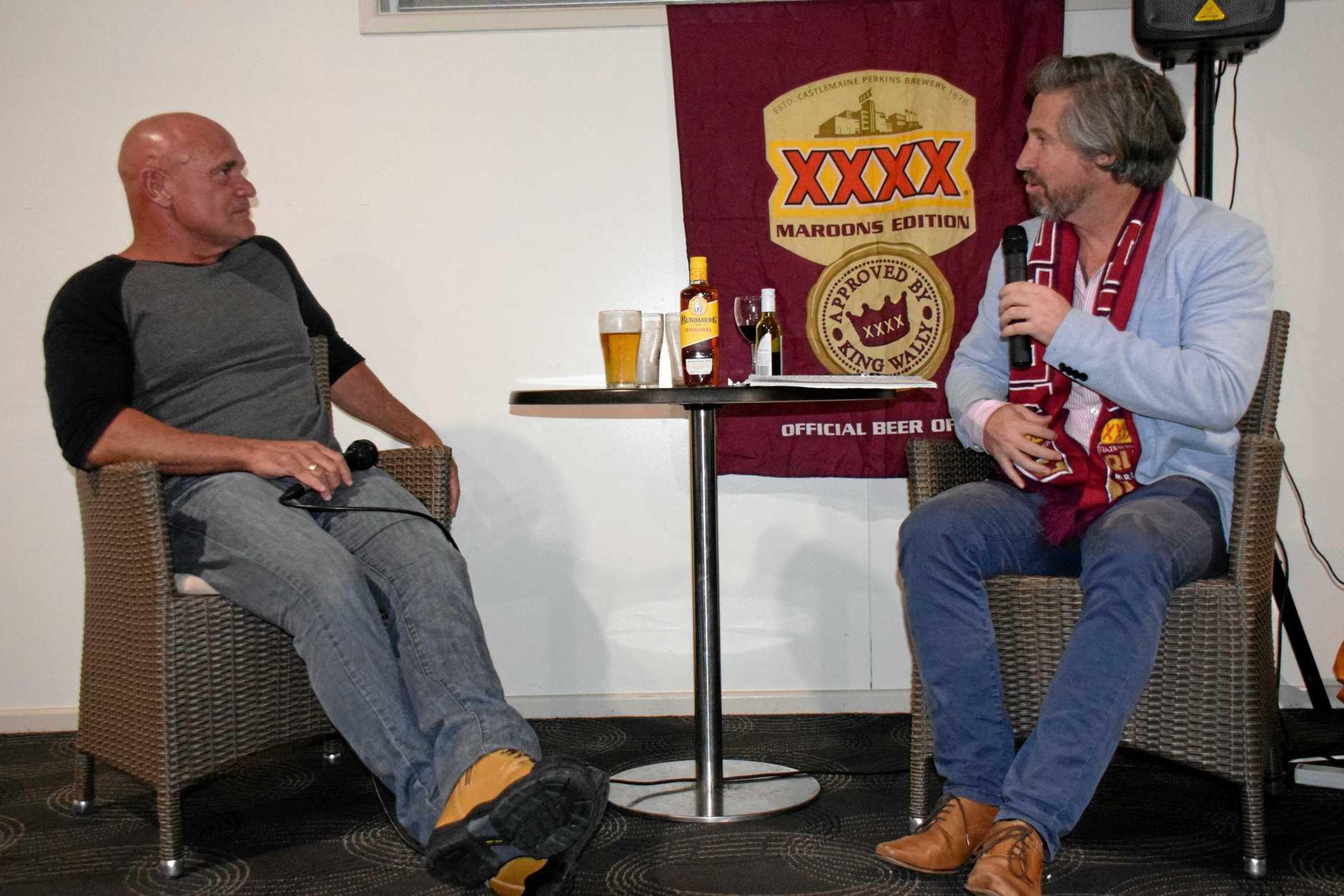 QUEENSLANDER: Matt Collins interviews former State of Origin star, Dale Shearer at the Nanango RSL.