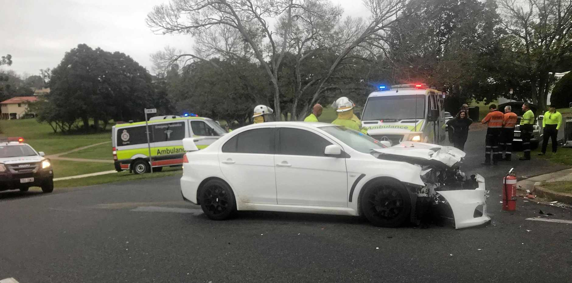 CRASH SCENE: A two-vehicle-crash occurred on Duke St earlier this morning, involving a Mitsubishi Lancer and Toyota Hilux just after 10am.