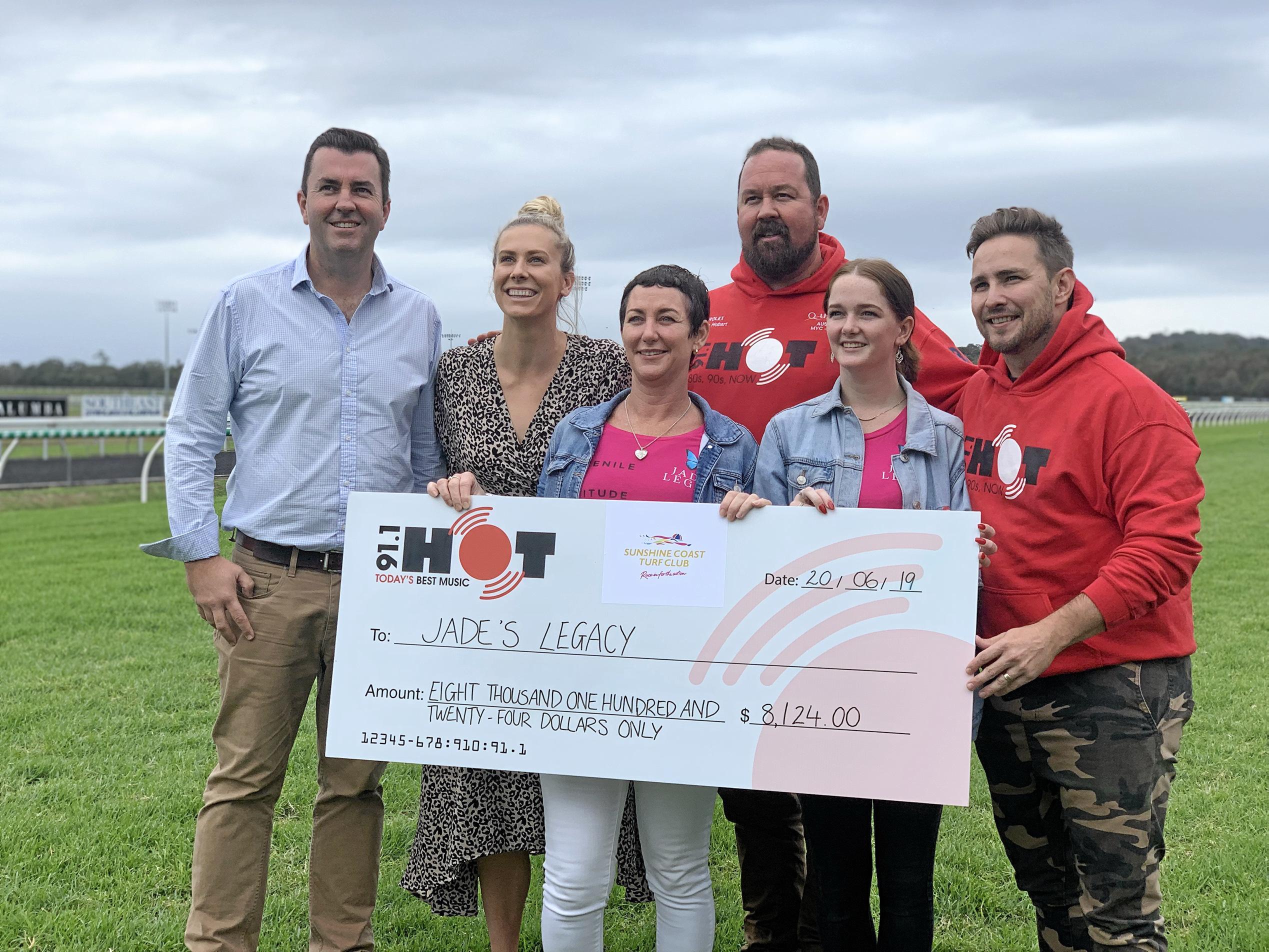 Hot 91 Breakfast Team presented a cheque of $8,124 to Jade's Legacy on June 20.  John Miller, Ash Gierke, Julie Dixson, Sam Coward, Georgia Dixson and Dave Matthews.