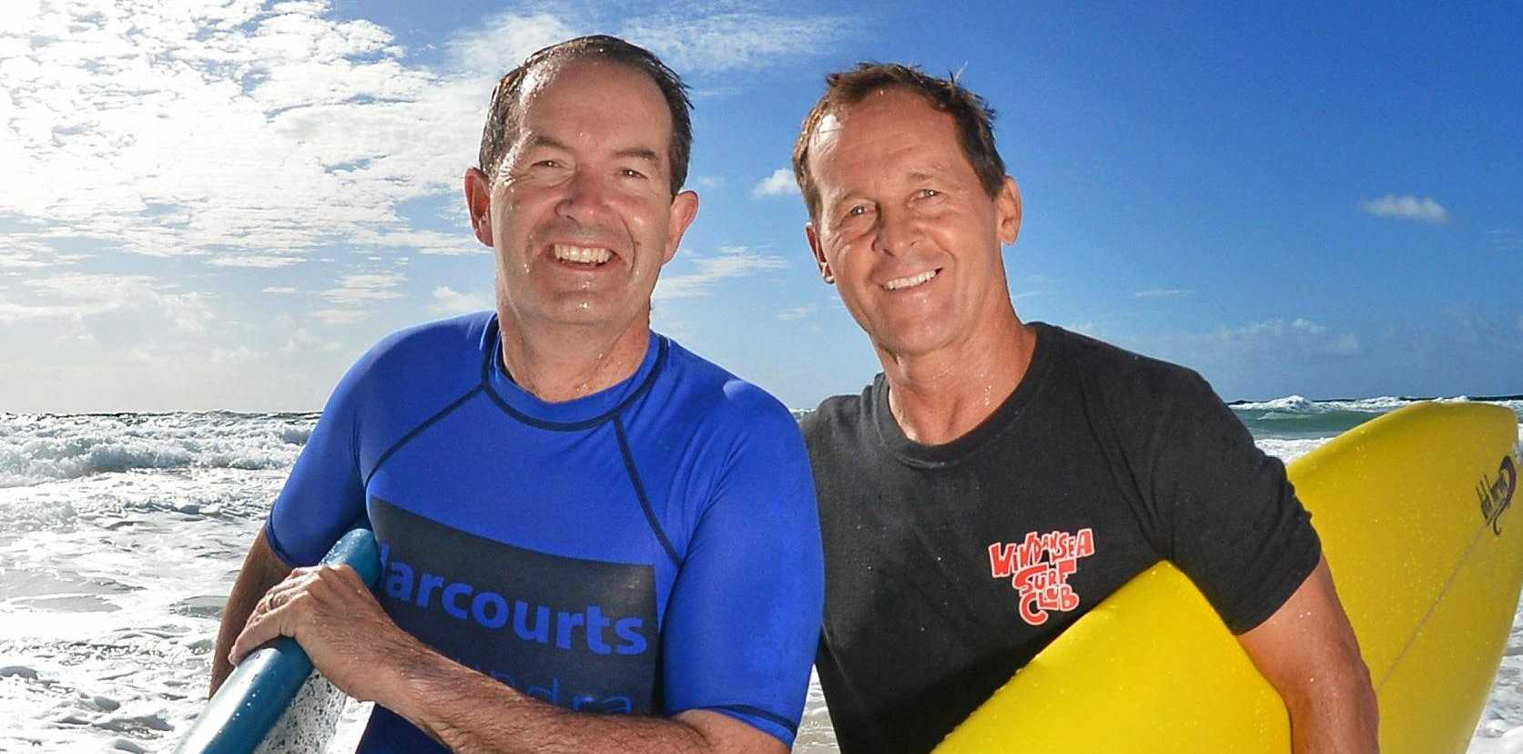 PROGRESS: Fisher MP Andrew Wallace and WindanSea Surf Club president Terry Landsberg celebrate new clubhouse funding earlier this year.