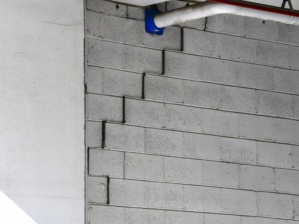 A crack is seen in the structure of the Mascot Towers. Picture: AAP