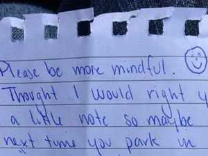 Angry parking note sparks 'mummy war'