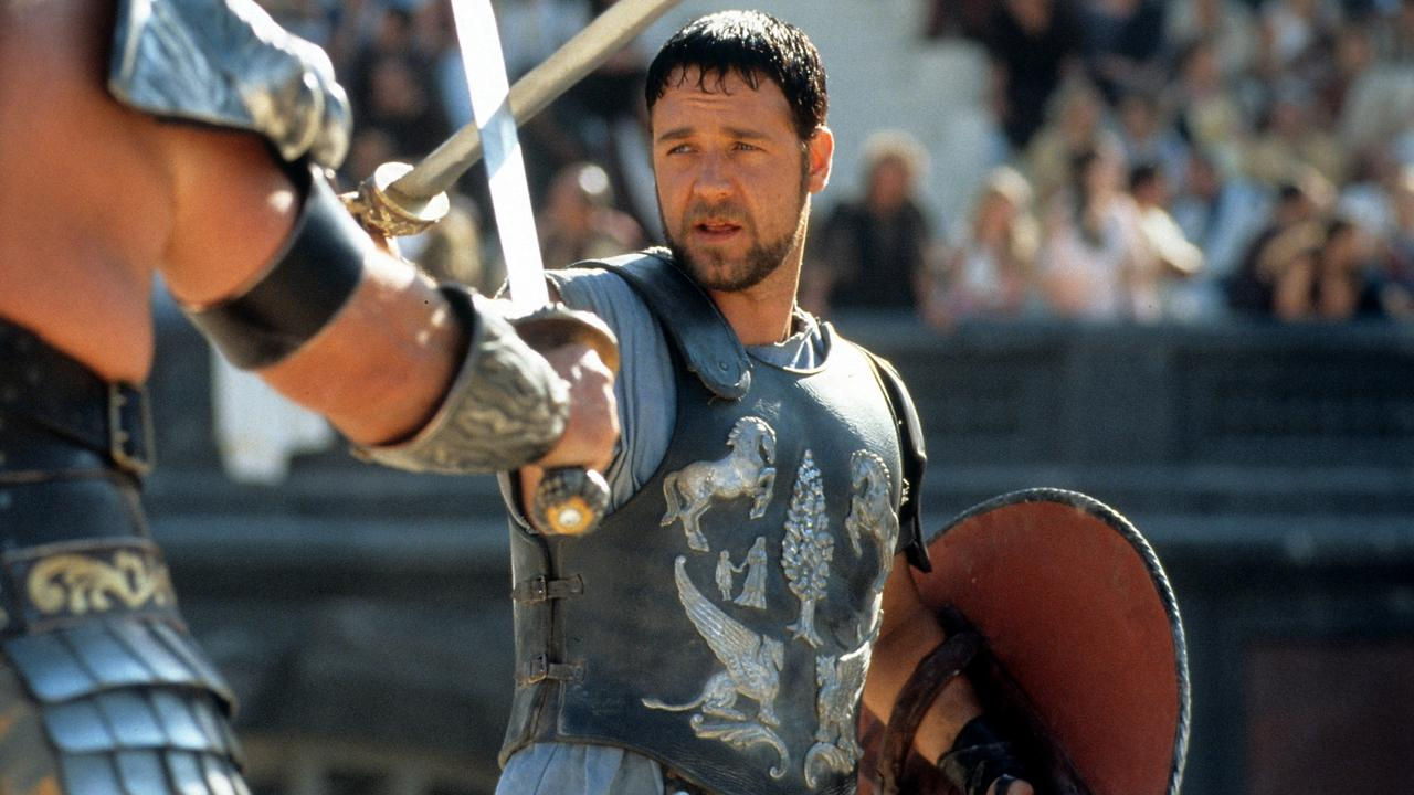Russell Crowe facing off in Gladiator.