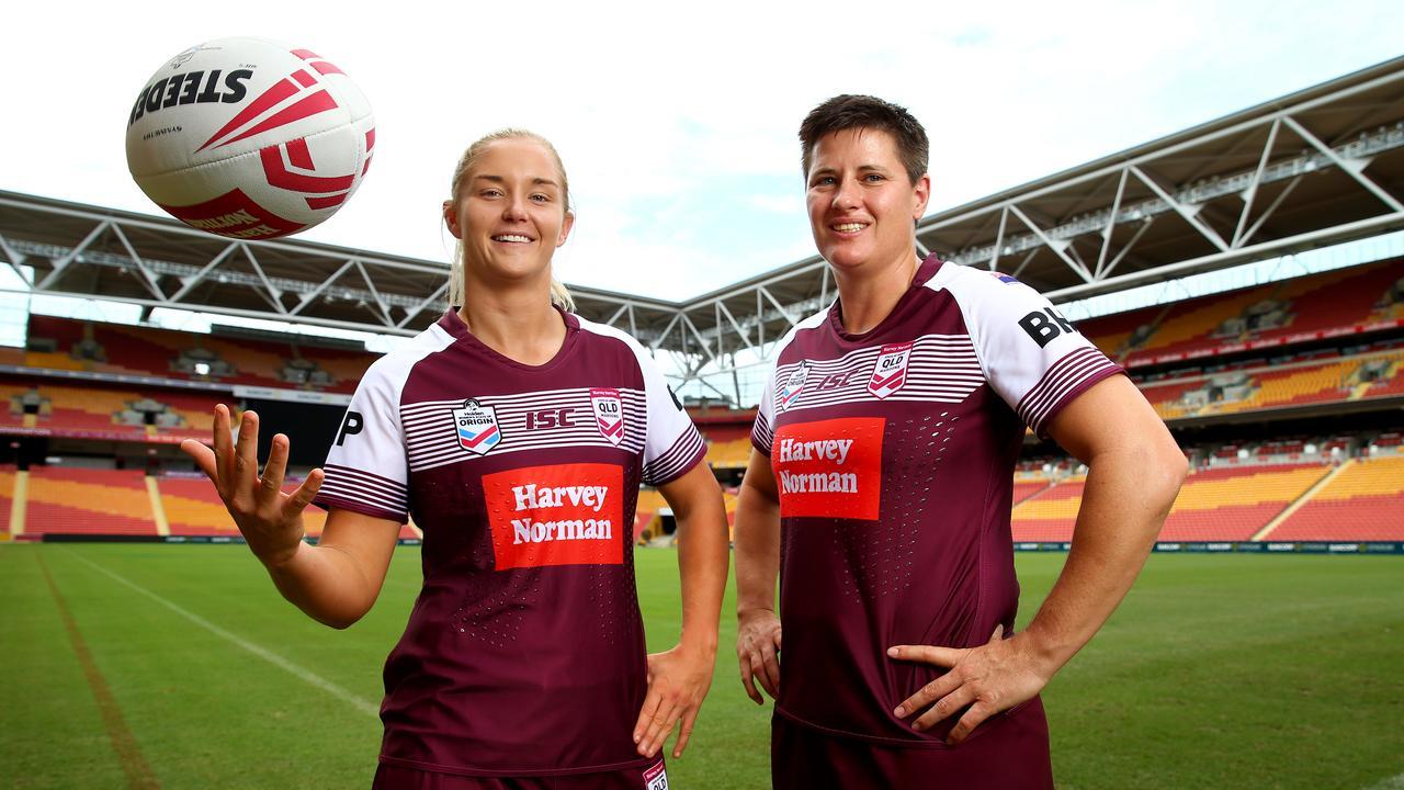 Maroons prop Heather Ballinger, on right, and Queensland teammate Meg Ward. Pics Adam Head