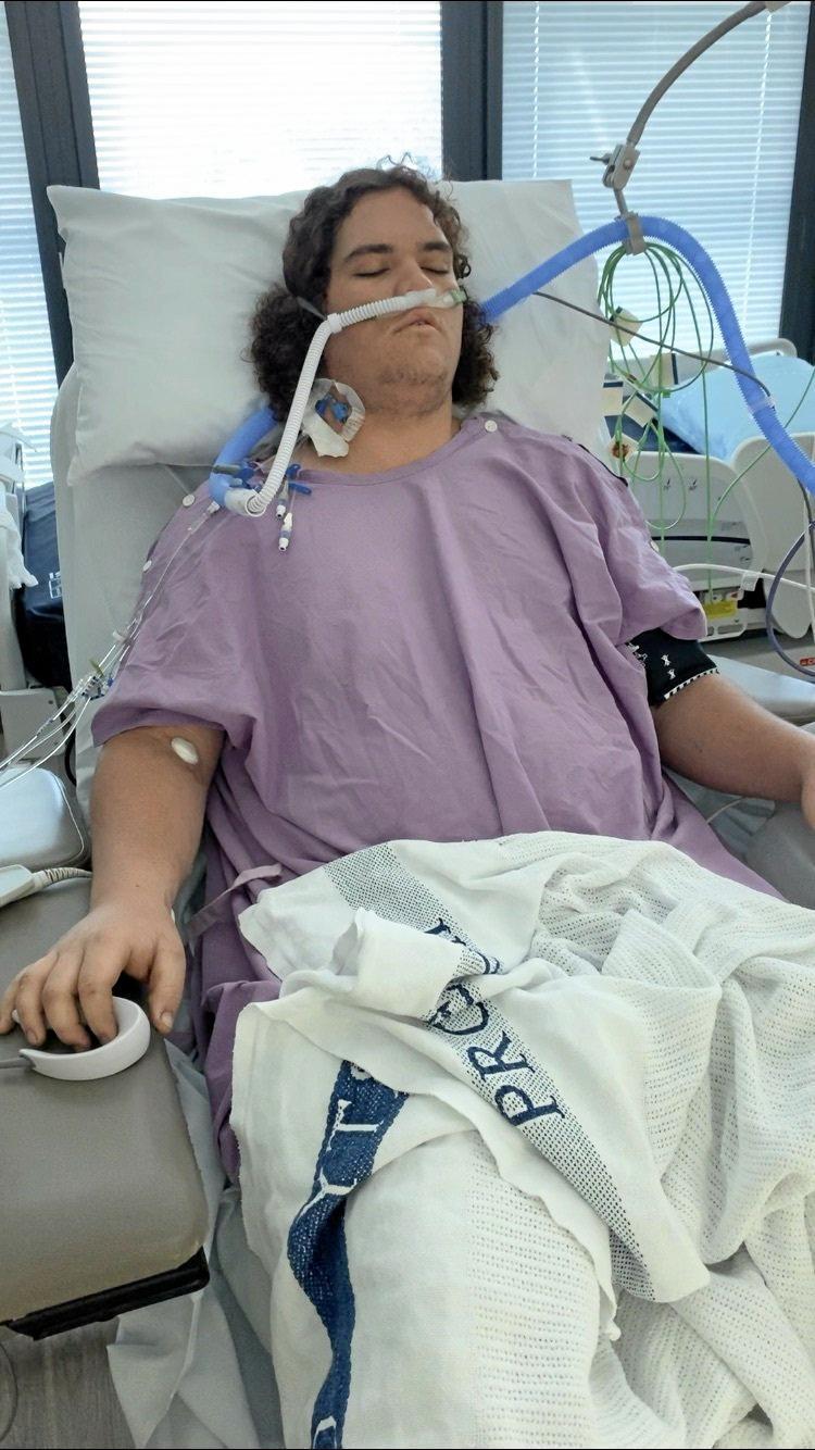 Stabbing victim Jake Steere in Rockhampton Hospital on June 20.